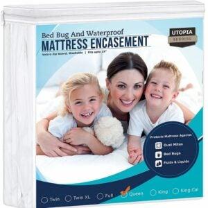 最好的床袋床垫罩选项:乌托邦床上用品拉链床垫封口