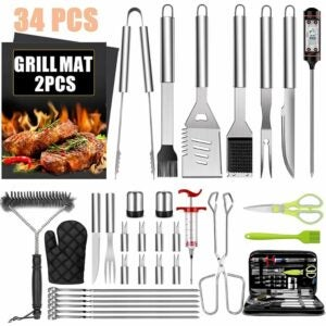 最佳烧烤工具套件选项:Taimasi 34PCS BBQ格栅配件工具集