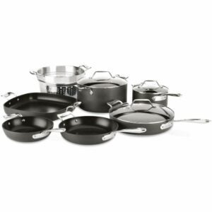 The Best Hard Anodized Cookware Option: All-Clad Essentials Nonstick Cookware set, 10-Piece