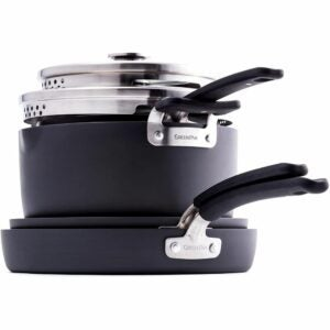 The Best Hard Anodized Cookware Option: GreenPan Levels Stackable Hard Anodized Set, 6 Piece