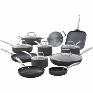The Best Hard Anodized Cookware Option: Stone & Beam Kitchen Cookware Set, 17-Piece