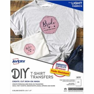 The Best Heat Transfer Paper Option: AVERY T-Shirt Transfer Sheets, Clear