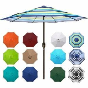 最好的庭院伞选项:Blissun 9'户外铝制,条纹露台伞