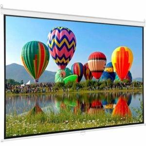 最好的投影仪屏幕选项: VIVO 100 inch HD Manual Pull Down Projector Screen