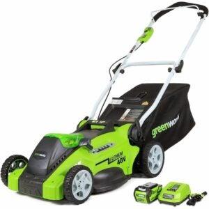 最佳推动割草机选项:GreenWorks G-Max 40V 16''无绳割草机