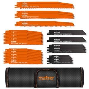 最好的Sawzall刀片选项:Horusdy 34件金属往复锯片套装