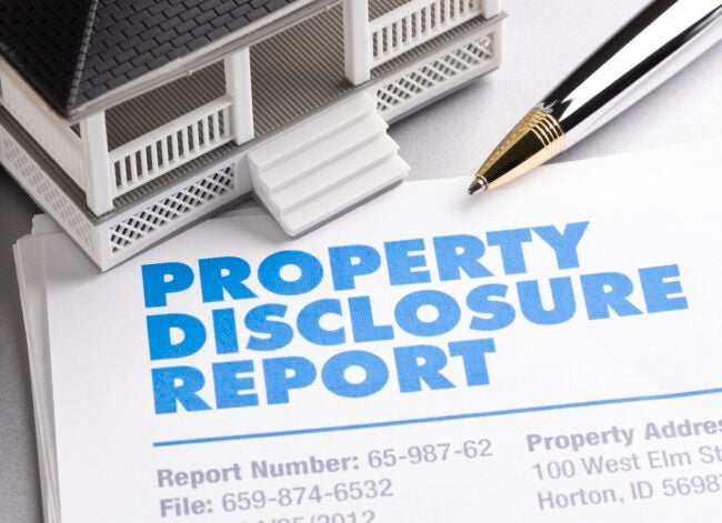 Property Disclosure Report with house and pen. ++All numbers and text is fictitious++