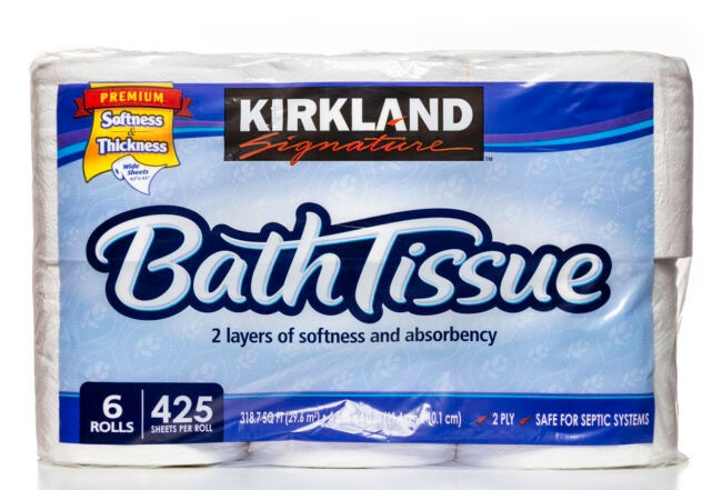 Miami, USA - March 23, 2014: Kirkland Signature bath tissue 6 rolls package. Kirkland Signature brand is owned by Costco Wholesale Corporation.