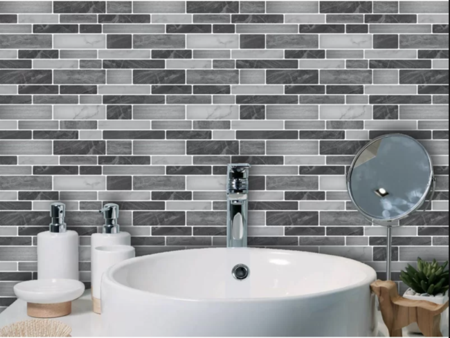 Peel and Stick tile in bathroom
