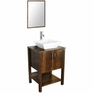 """The Best Bathroom Vanities Option: eclife 24"""" Bathroom Vanity Sink Combo Brown Cabinet"""