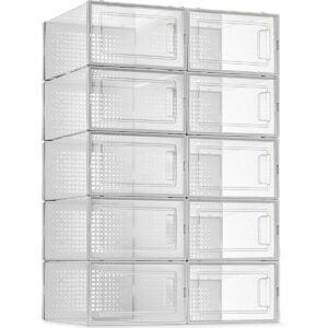 Best Shoes Organizer Options: 10 Pack Shoe Storage Boxes, Clear Plastic