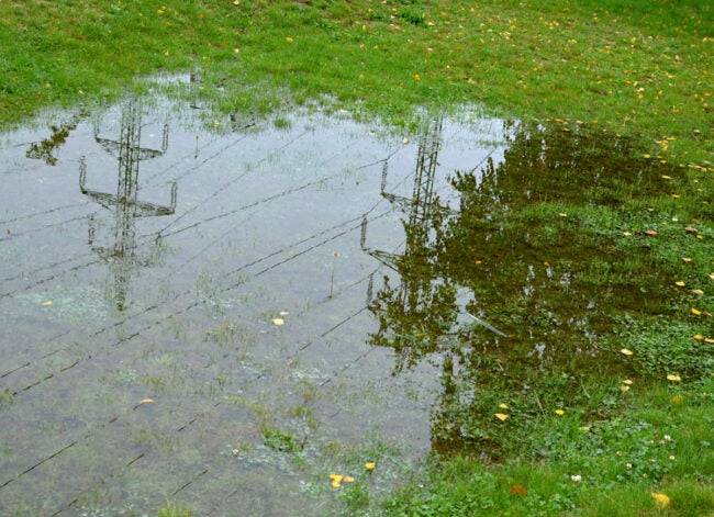 french drain cleaning flooded yard