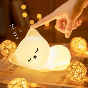 Cordless Lamp Option: Mubarek Cute Kitty Kids Night Light
