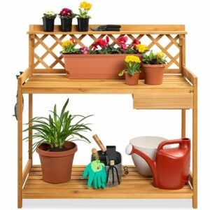 The Best Potting Benches Option: Best Choice Products Outdoor Garden Potting