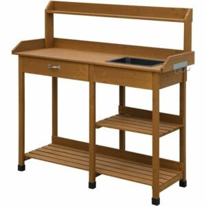 The Best Potting Benches Option: Convenience Concepts Deluxe Potting Bench, Light Oak