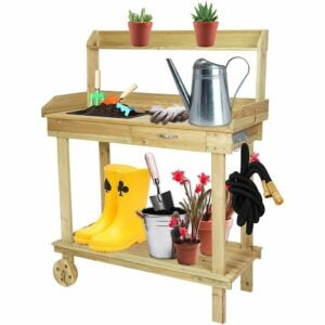The Best Potting Benches Option: LUCKYERMORE Potting Bench Table Wooden Gardening