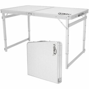 The Best Potting Benches Option: VINGLI 4 Foot Folding Table with Adjustable Height