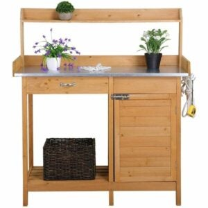 The Best Potting Benches Option: YAHEETECH Outdoor Garden Potting Bench Table