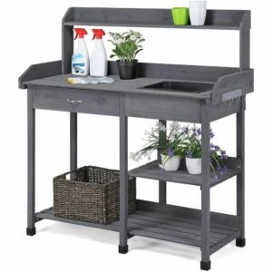 The Best Potting Benches Option: YAHEETECH Outdoor Potting Bench Table Potters Benches