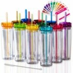 The Best Plastic Drinking Glasses Option: STRATA CUPS SKINNY TUMBLERS 12 Colored Acrylic