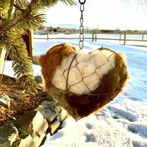 The Gifts for Bird Lovers Option: Bird Nesting Heart - 100% Alpaca Fiber