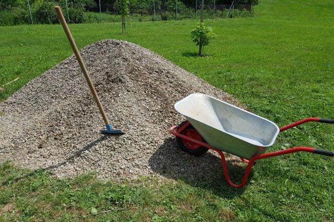 how much concrete per fence post gravel wheelbarrow