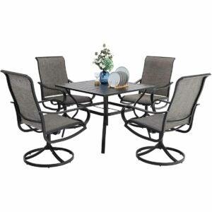The Outdoor Dining Set Option: PHI VILLA 5 Piece Patio Dining Set