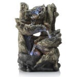 Outdoor Water Fountains Option: Alpine Corporation Tiered Log Tabletop Fountain