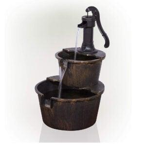 Outdoor Water Fountains Option: Alpine Corporation 2-Tier Rustic Pump Barrel Fountain