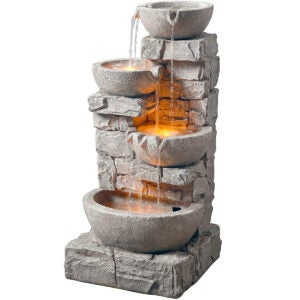 Outdoor Water Fountains Option: Peaktop 4 Tiered Stacked Stone Waterfall Fountain
