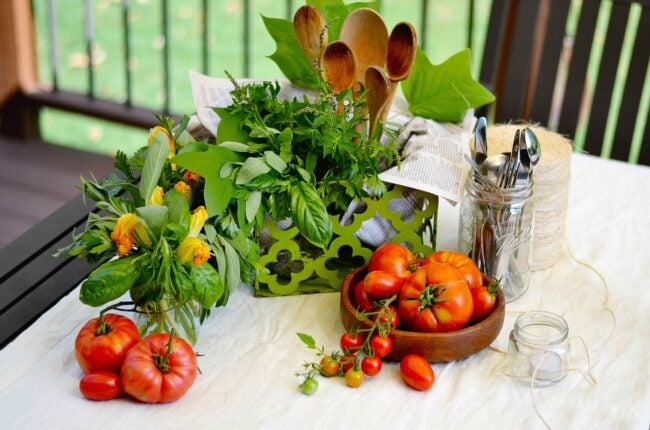 Home decor ideas -- Centerpiece made with vegetables tomatoes herbs