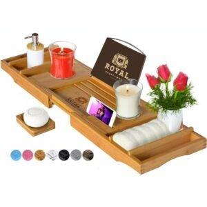 The Best Housewarming Gifts Option: Royal Craft Wood Luxury Bathtub Caddy Tray