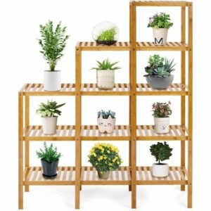 The Best Gifts for Plant Lovers Option: COSTWAY Bamboo Shelf Plant Stand