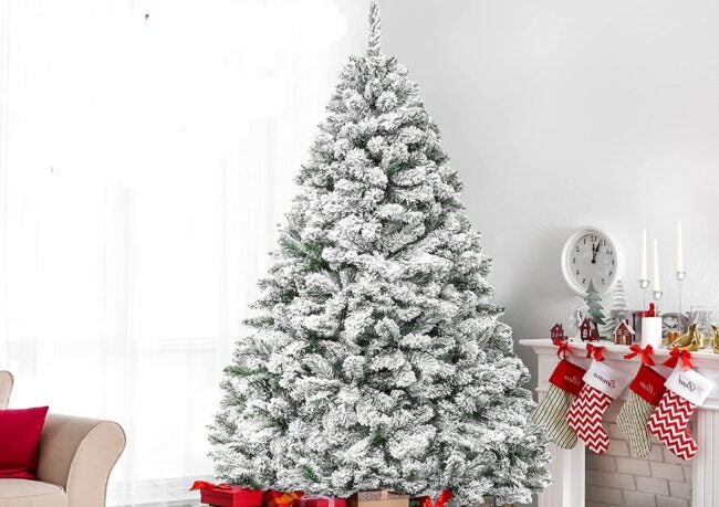 Best Artificial Christmas Trees Option_ Best Choice Products Snow Flocked Christmas Tree