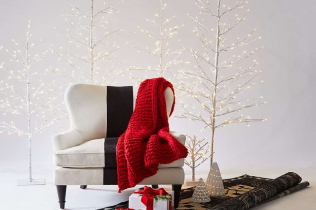 Best Artificial Christmas Trees Option: Crate & Barrel LED 7' Birch Tree