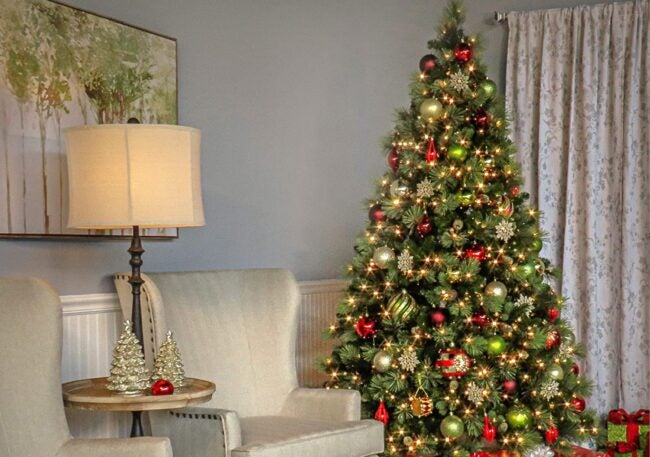 Best Artificial Christmas Trees Option: National Tree Carolina Pine Tree with Clear Lights