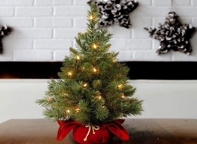 Best Artificial Christmas Trees Option: National Tree Company Pre-lit Artificial Mini