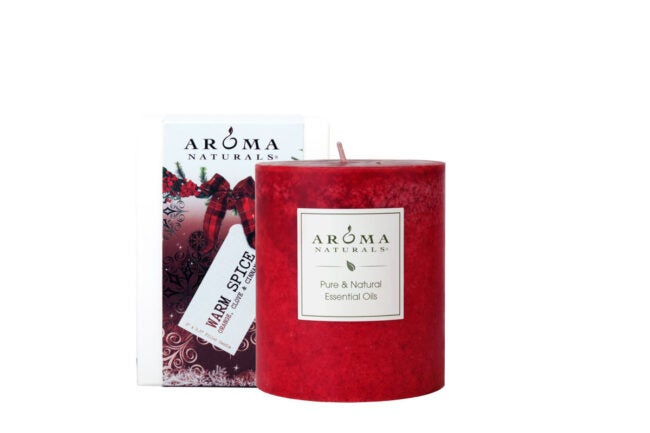The Best Christmas Candle Option: Aroma Naturals Holiday Scented Pillar Candle, Warm Spice