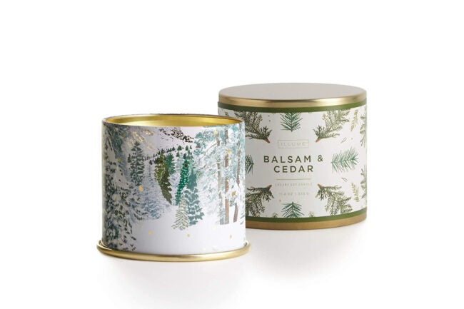 The Best Christmas Candle Option: Illume Noble Holiday Collection Balsam & Cedar Tin