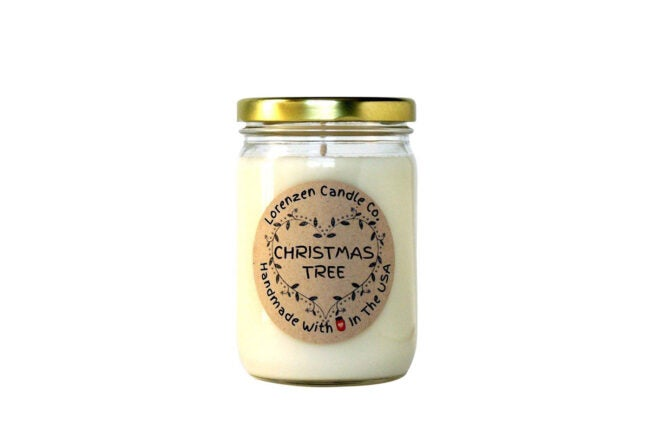The Best Christmas Candle Option: Lorenzen Candle Co. Christmas Tree Soy Candle