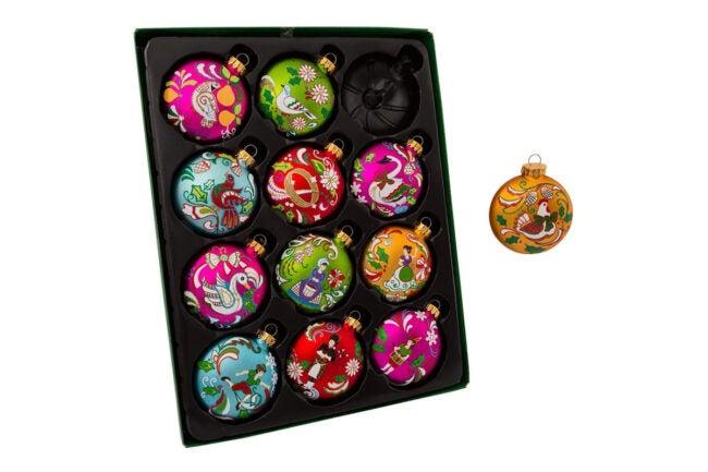 The Best Christmas Decoration Option: Kurt Adler 12 Days of Christmas Glass Ornament Set