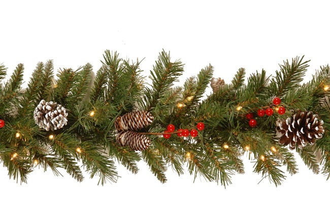 The Best Christmas Decoration Option: National Tree Company Frosted Berry Pre-lit Christmas Garland