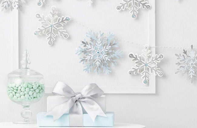 The Best Christmas Garland Option: Martha Stewart Die Cut Paper Snowflake Garland