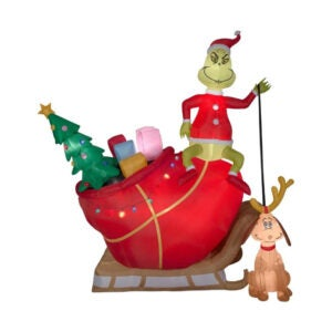 The Best Christmas Inflatables Option: Gemmy Christmas Inflatable 12' Grinch on Sleigh