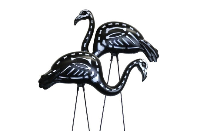 The Best Halloween Decorations Option: GIFTEXPRESS 2-Pack Halloween Black Flamingo Skeleton