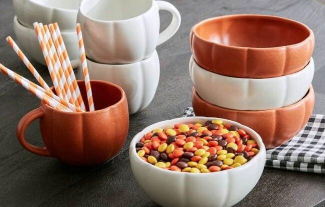 The Best Halloween Decorations Option: Pottery Barn Pumpkin Shaped Stoneware Mug