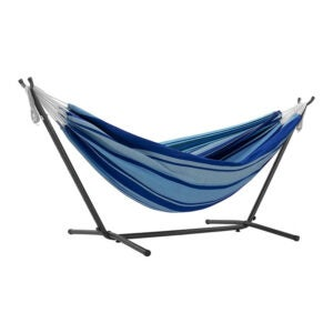 The Best Hammock Stand Option: Vivere Double Hammock with Space Saving Steel Stand