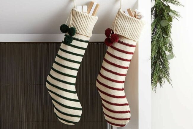 The Best Christmas Stockings Option: Crate & Barrel Green Stripe Knit Stocking