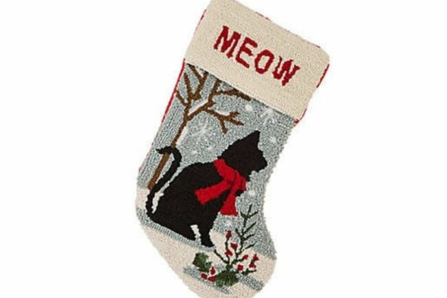 The Best Christmas Stockings Option: Glitzhome® 20-Inch Cat Hooked Stocking