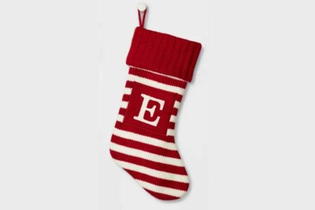 The Best Christmas Stockings Option: Knit Striped Monogram Christmas Stocking